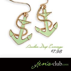 """Anchor Drop Earrings From Regal       Elegant earrings are perfect for boating, or for brightening up your work wardrobe. Drop earrings with colourful epoxy anchor and gold-tone accents. (1-1/4""""L)  Product Number - JC1015"""