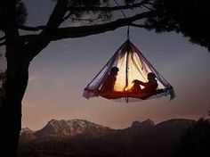 sleep in portaledges that are hung from the thick branches of large free-standing trees. This is the more impressive version of sleeping in the fluidized bed. Ascent and descent are possible only with rope assistance.