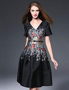 MMLJ Women's Casual/Daily Chinoiserie A Line DressJacquard V Neck Knee-length Short Sleeve Black Polyester Fall Mid Rise Inelastic Medium