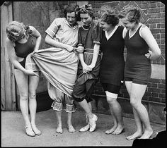 Swimsuits from (left to right) 1932, 1890, 1900, 1910, and 1920