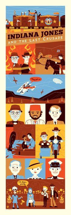 """Buen poster de Indiana Jones y la última cruzada titulado """"Crusade: 1989″, creado por Dave Perillo."""