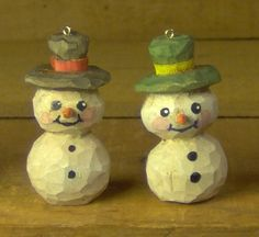 Two Hand Carved Snowman Christmas Ornaments