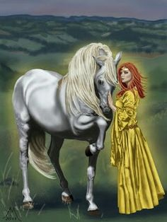 RHIANNON is the WelshGoddess of horses, birds, the moon, and inspiration, her name meansDevine orGreat Queen. She possesses deep magic and can manifest her dreams and desires for the good of all.  She travels on a powerful white horse with her mysterious birds that possess healing powers.These birds are magical, for they are the birds of Sweetest Song and she is their mistress. Rhiannon's birds appear in various Celtic symbols in Celtic Art.