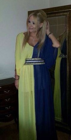 Double colored maxi chiffon dress with a unique belt