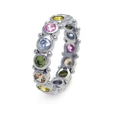 Ashley Gold Sterling Silver Multi Colored Eternity Band  Sterling Silver .925 Multi Colored CZ's