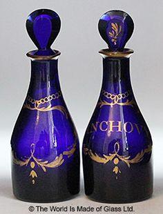 Bristol Blue Sauce Bottles - C. Winter Haven, Kitchen Products, Glass Table, Sauce Bottle, Bristol, Bottles, Table Lamp, Vase, Gallery
