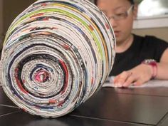 Reciclaje. Cesta hecha con revistas. Basket made with magazines. - YouTube