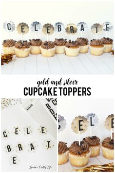 Gold and Silver Cupcake Toppers. Use the Clearly Posh collection from We R Memory Keepers along with Bazzill mylar sheets to create these festive toppers.
