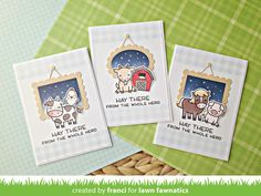 Franci's Charming Hay There Card Set Mini Picture Frames, Lawn Fawn Stamps, Handmade Card Making, Small Cards, Animal Cards, Kids Cards, Cool Cards, Greeting Cards Handmade, Homemade Cards