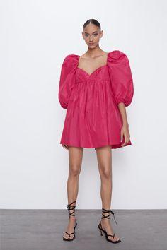 Vestidos Zara, Pull Orange, Short Dresses, Summer Dresses, Taffeta Dress, Zara Fashion, Spring Looks, Zara Dresses, Pulls
