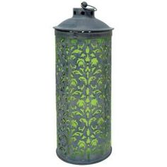 18 in. Solar Lace Lantern with Green Light-R705GX at The Home Depot