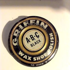 Mid century tin vintage Griffin ABC black shoe by TheSlingshot, $8.00