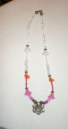 Flower Pendant: Metal Pendant and Lucite by KrystalKlarityBeads
