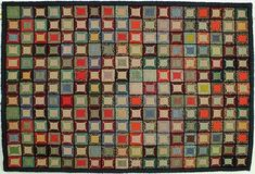 "Kent Kent is a GREAT hand tufted rug. Taken from an Early American quilt design,is made up of random squares of color. Kent has an antique wash on it, to make it look ""vintage"". Soft hues of greens, blues, greys, beiges, whites, tweeds, reds, oranges, browns, and black make up this rug. Kent has a blue border. So full of color and the simple design Make Kent suitable for all homes, and all rooms. Available in the following sizes: 2'x3' 2'x8' 3'x5' 4'x6' 6'x9'"