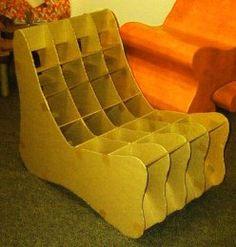 Fauteuil Cardboard Chair, Cardboard Cartons, Cardboard Paper, Cardboard Furniture, Furniture Inspiration, Paper Crafts, Diy, Tiny House, Third