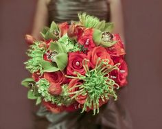 tulips, hydrangea,spider mums,roses,green orchids                                              roses                          orchids                          pearls                          green                          coral                          orange