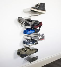 Our best selling stylish Wall Mounted Shoe Rack! Add shoe racks to create more tiers or one big shoe rack. Stylish shoe storage, perfect for small hallways. Shoe Storage Metal, Wall Mounted Shoe Storage, Shoe Storage Shelf, Shoe Rack With Shelf, Metal Shoe Rack, Rack Shelf, Small Storage, Wall Shoe Rack, Hallway Shoe Storage