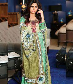 Mahnoor Winter embroidered Linen Collection '15 AZ_01A