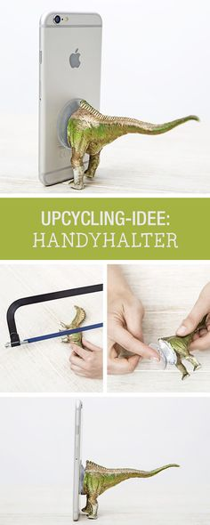 DIY-Anleitung: Handyhalter für Dinofans, Upcycling Trend für Deine Technik / DIY tutorial: cell phone holder as dinosaur, upcycling trend for your technology via DaWanda.com
