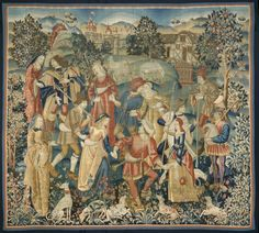 Shepherds in a Round Dance, around 1500 Netherlands, early 16th century tapestry weave: wool and silk, Overall: 360.50 x 401.10 cm (141 7/8 x 157 7/8 inches).
