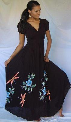Black/Dress-Maxi-Sexy-Boho-Hippy-Painted
