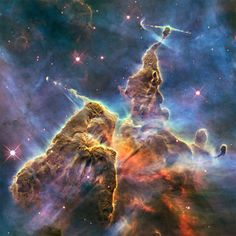 Hubble's Mystic Mountain, Carina Nebula, located 7,500 light-years from Earth in the constellation Carina