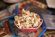 Sweet popcorn with caramel and pretzels #recipe. A favourite snack featuring olive oil.