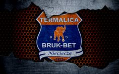 Download wallpapers Bruk-Bet Termalica, 4k, logo, Ekstraklasa, soccer, football club, Poland, grunge, Bruk-Bet Termalica Nieciecza, metal texture, Bruk-Bet Termalica FC