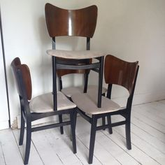 Four vintage dining chairs, GPlan style - no labels. Refurbished and reupholstered. 46cm wide, 82cm high and 42cm deep | £200 set of four | #UpcycledDiningChairs | Recycled by Jessica
