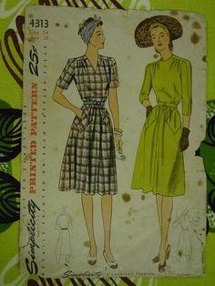 Vintage Pattern 1940's Simplicity No. 4313 Dress Size 14. $8.00, via Etsy.