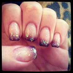 Glittery brown ombre nails <3