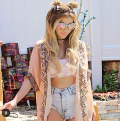 Ready for that EDC vegas weather in these highwaisted shorts + crop top + kimono