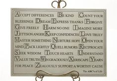 ABCs of Life Inspirational Words to Live By Wall Plaque 16.75W
