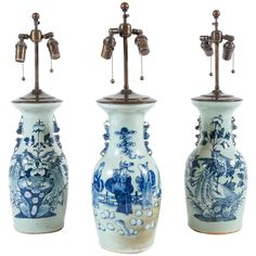 19th Century Chinese Export Blue and White Baluster Vase Table Lamps | From a unique collection of antique and modern table lamps at https://www.1stdibs.com/furniture/lighting/table-lamps/
