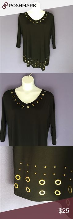 "🆕 Belldini Black Asymmetrical Top w/Gold Accents NWT - The gold rings on the black V-Neck really make a statement.  The bottom has a slight asymmetrical look. Pair with anything for a great outfit.  Measurements (Flat):  Length 29""/Bust - 26.5""/Waist - 26"" Belldini Tops Blouses"