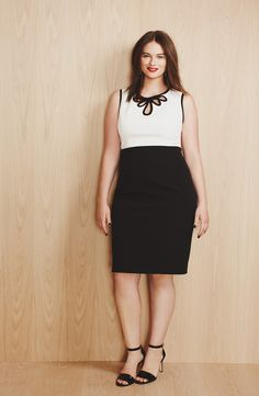 Office style: Black & White sheath dress with a bold red lip.