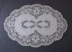 ANTIQUE FLOWERS & LEAVES EMBROIDERY LACE DOILY 20 X 14 inches | eBay