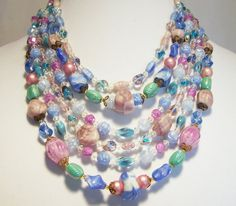 Mid Century 1960s West Germany Pastel Beaded by GretelsTreasures