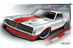 We have a pro show how easy it is to paint classic muscle cars by using our 1967 Mercury Cougar Project Max Effort as a demonstration car. Best Muscle Cars, American Muscle Cars, Best Classic Cars, Classic Trucks, Wheel Flares, Car Drawings, Sweet Cars, Automotive Art, Car Pictures