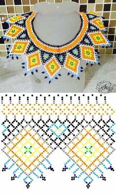 Beaded beads tutorials and patterns, beaded jewelry patterns, wzory bizuterii koralikowej, bizuteria z koralikow - wzory i tutoriale Diy Necklace Patterns, Seed Bead Patterns, Beaded Jewelry Patterns, Beading Patterns, Seed Bead Jewelry, Bead Jewellery, Beaded Crafts, Loom Beading, Bead Art
