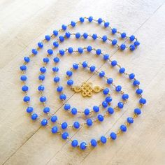 """38"""" Deep Blue Chalcedony Rosary Chain Necklace with Tibetan Endless Knot Connector"""