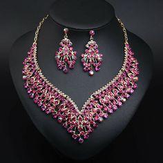 Luxury Prom Wedding Bridal Crystal Rhinestone Necklace Earrings Jewelry Set Gift | eBay Rhinestone Necklace, Crystal Rhinestone, Costume Jewelry Sets, Fashion Jewelry, Women Jewelry, Jewelry Watches, Bridal, Detail, Crystals