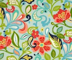 blue green large floral fabric - Google Search