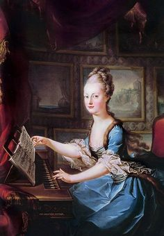 Marie Antoinette At the Clavichord by Franz Xaver Wagenschön, 1768