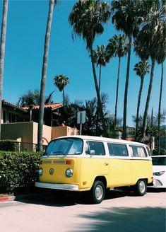 VSCO - #loveyellow | mariahsantt Pretty Cars, Cute Cars, Volkswagen Bus, Vw Camper, Volkswagen Transporter, My Dream Car, Dream Cars, Van Life, Tumblr Yellow