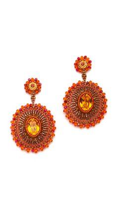Miguel Ases Fire Opal & Quartz Pendent Earrings/swarovski, miyuki beads