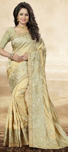 740158: Beige and Brown  color family Embroidered Sarees, Party Wear Sarees, Silk Sarees   with matching unstitched blouse.