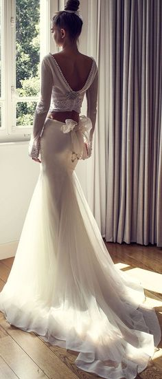 Long sleeves two piece mermaid wedding dress #weddingdress #weddinggown