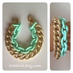 THE LUXE BRACELET: Gold Chunky textured chain with Mint or Pink Plastic Chain Bracelet. $25.00, via Etsy.