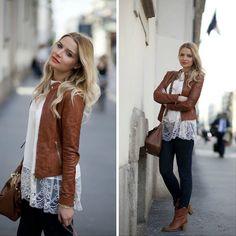 looks com jaqueta de couro marrom feminina - Pesquisa Google